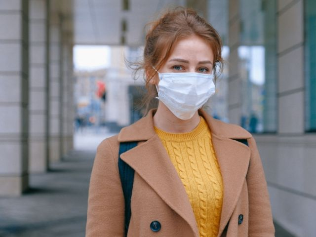 wearing a facemask in preparation for coronavirus